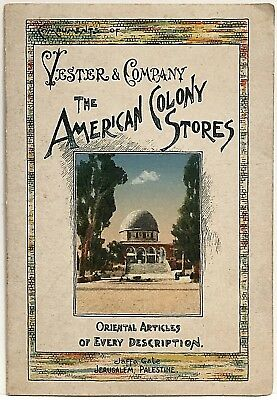 American Colony Stores Jerusalem Map Vester & Co Palestine Trade Card Hotel