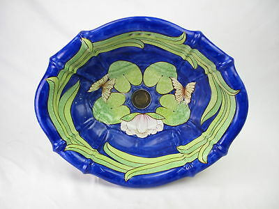 Vintage SHERLE WAGNER Italy Hand painted Blue LILLIES Porcelain Sink BUTTERFLIES