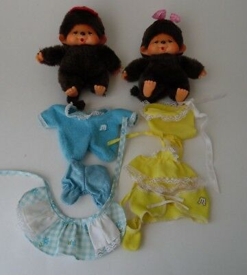 VINTAGE LOT OF MONCHICHI'S BABY BOY & BABY GIRL With Outfits~See Pics