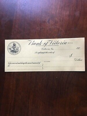 Old 1920 Bank Of Victoria Virginia Unused Check Lunenburg Federal Reserve Mint