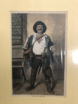 Antiquarian 1870 Print (pirate) Of Original Carl Gehrts - Etched By R. Bong X.A