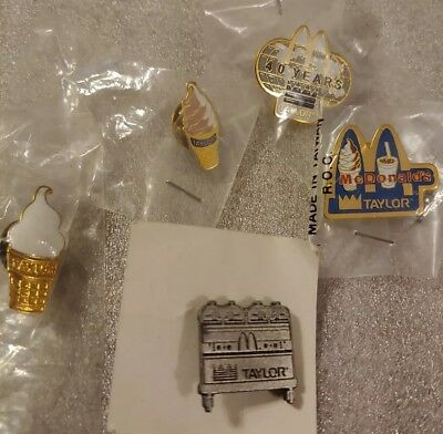 Lot of 5 Mixed McDonald's 1980's to 1990's Collectible Lapel Pins(M)