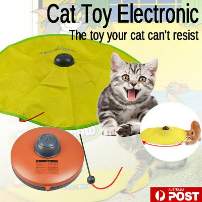 Electronic Cat Meow Toy Rotating Moving Mouse Fabric Chase Interactive Have Fun