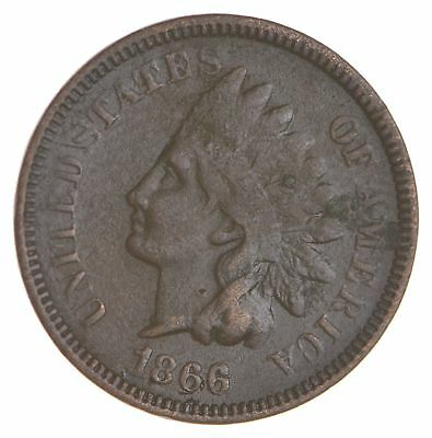 BETTER- 1866 Indian Head Cent Penny - Tough Coin *077