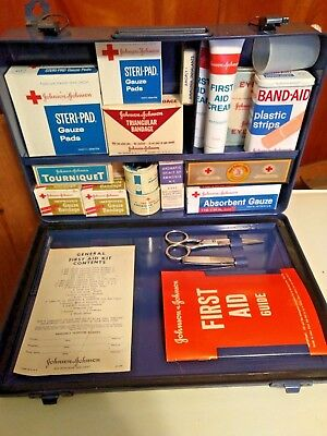 Vintage 1960 Johnson & Johnson General First Aid Kit Filled w/ Supplies