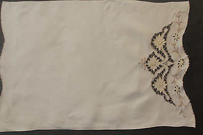 Vintage cream linen with beige and yellow embroidery cloth/antemacassar.