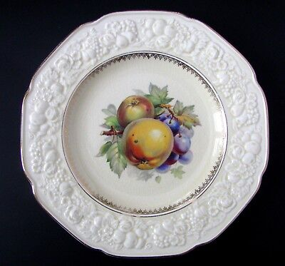 """Crown Ducal Florentine Serving Plate, Embossed Rim Apple and Grape 10 1/2"""" Plate"""