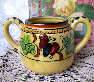 Tashiro Shoten Hand Painted Sugar Bowl , Antique Black Elephant Mark Bowl c1920s