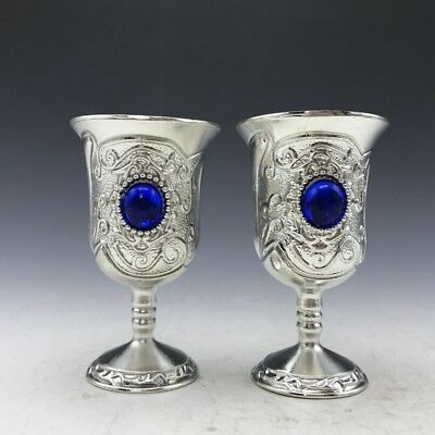 Collection Chinese Tibetan silver hand-inlaid zircon cup