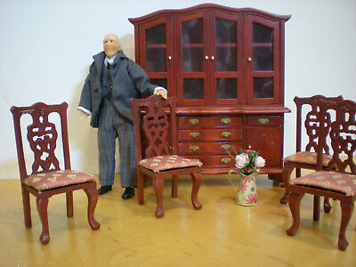 Dollhouse Miniature doll older man hutch or cabinet chairs lot