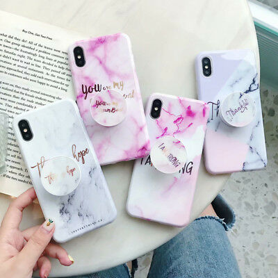 Marble Iridescent Holographic Holo Phone Case For iPhone 6 7 With Pop Up Holder