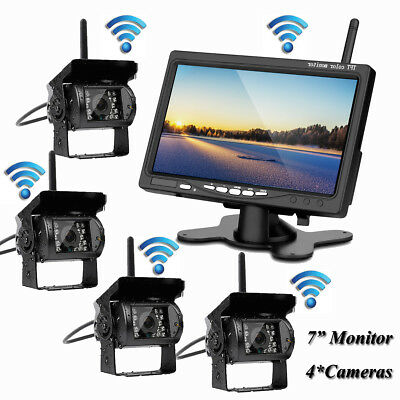 "7"" Monitor+4 X Wireless Rear View Backup Camera Night Vision For RV Truck Bus"