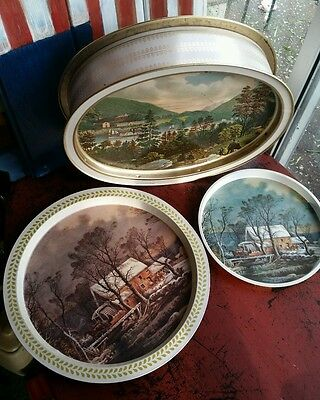 Vintage tray tin Currier and Ives lot Mount Vernon West Point the old Grist mill