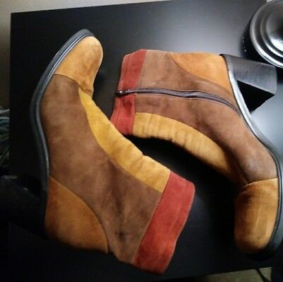 Vintage 1990's Enzo Angiolini Suede Chunk Heel Boots Size 8
