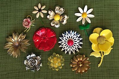 Vintage Pin Lot Of 11 ~ Metal Enamel Flowers, One Plastic