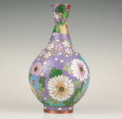Antique Chinese Cloisonne Enamel Vase Made Hand Only One Collection