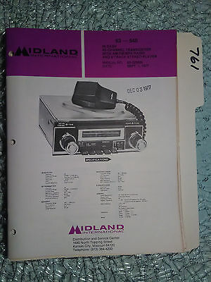 Midland 63-540 service manual original repair book cb radio am/fm mpx in dash