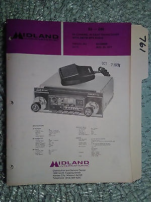 Midland 63-240 service manual original repair book cb radio am/fm mpx in dash