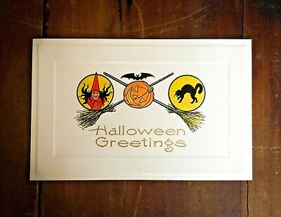 Vintage Gibson Halloween Postcard - Jack-o-Lantern, Bat, Witch, Black Cat