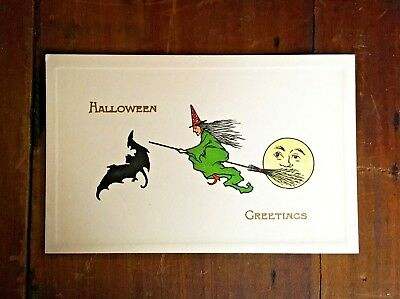 Vintage Gibson Halloween Postcard - Witch Bat Full Moon Broomstick