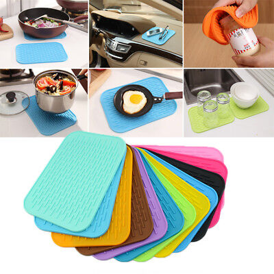 Quality Non-Slip Heat Resistant Pot Holders Square Pads Silicone Mats Hot Solid