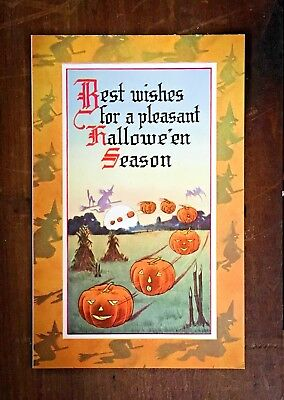 Vintage Gibson Halloween Postcard - Witch, Black Cat, Jack-o-Lantern