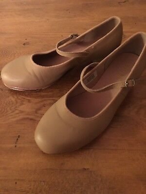 Women's Bloch Leather Tan Nude Dance Techno Tap Shoes Size 8 Excellent Condition