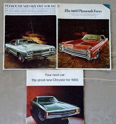 Lot of 3 Plymouth Canadian brochures 1968 1969 Fury Newport New Yorker
