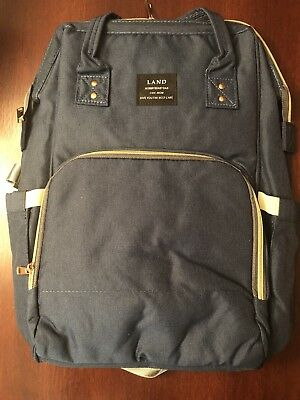 LAND Mommy Baby Diaper Bag Large Capacity Backpack Baby Nappy Tote Bag Navy a284e0f97c038