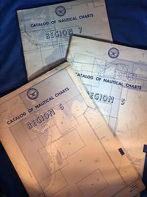 LOT of 3 VTG Catalogs of Nautical Charts 1973 Regions 5, 6 & 7 D.O.D. Produced