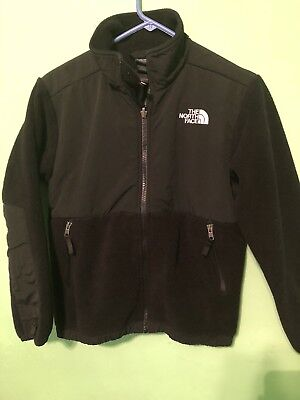 Boys North Face Denali Hooded Black Fleece Jacket - Sz M(10-12)