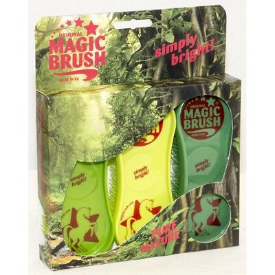 ORIGINAL MAGIC BRUSH - Set of 3 - Pure Nature - Horse / Dog Grooming Brushes