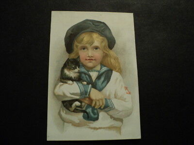Childrens + Clothing Advertising Trade Card Yound Child With Cat