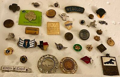 Mixed Lot Of Vintage Pins - Girl/boy Scouts And More