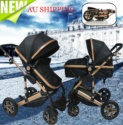 Reverse Baby Stroller High View Carriage Travel Foldable Pram Bassinet Pushchair
