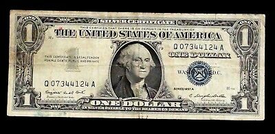 1957-A Silver Certificate blue Seal 1 Dollar UNITED STATES  Q 07344124 A (90B)