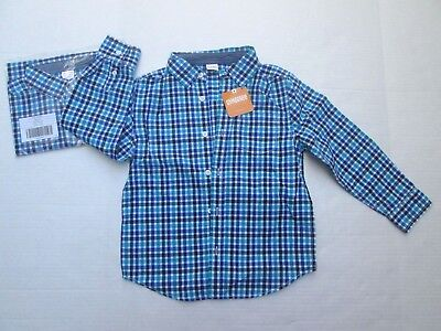 ❤ GYMBOREE boys plaid button shirt size 5 6 New $29.95 teal longsleeves FREESHIP