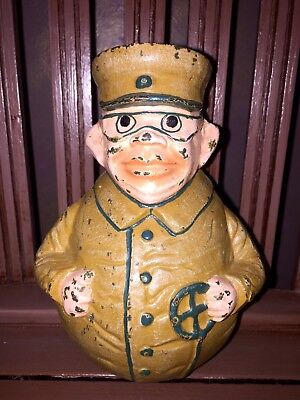"""Vintage Cast Iron Coin Bank TOJO Japanese WW2 Army General ULTRA-RARE 6.5""""T"""