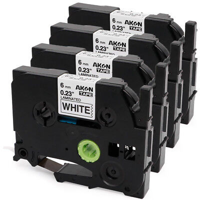 Compatible 4PK Black on White Label Tape Brother P-touch TZe 211 Label Maker 6mm