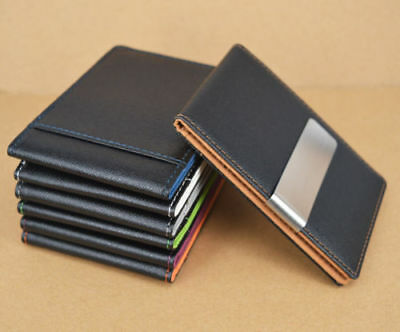 Portable Money Clip Leather ID Credit Card Holder Safe Slim Wallets Mens Present