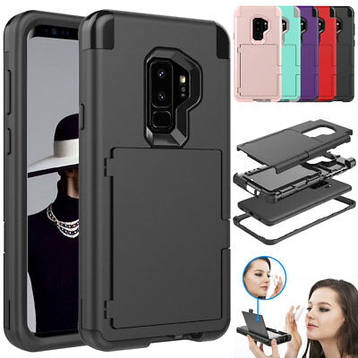 Wallet Credit Card Holder with Mirror Phone Case For Samsung Galaxy S9 S8 / Plus