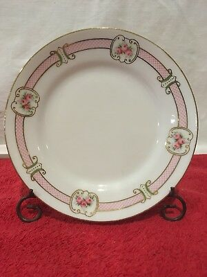 Hand Painted Nippon Small Plate Saucer  Rising Sun Mark Blue - Pink Roses