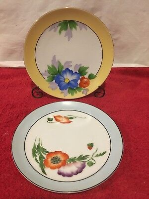 2 Meito China Hand Painted Floral Pansy Roses small plates  6 3/8 Made in Japan