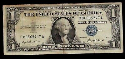 1957 Silver Certificate blue Seal 1 Dollar UNITED STATES  C 86565747 A (93B)