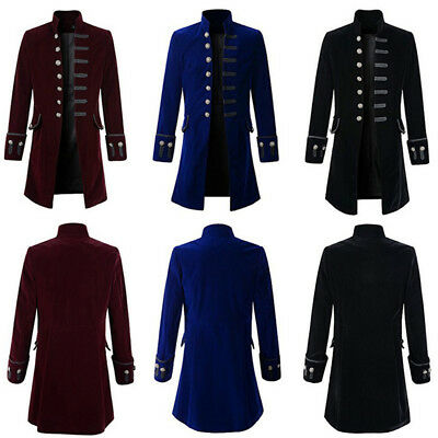 Mens Steampunk Vintage Tailcoat Gothic Jacket Victorian Frock Coat Long Overcoat