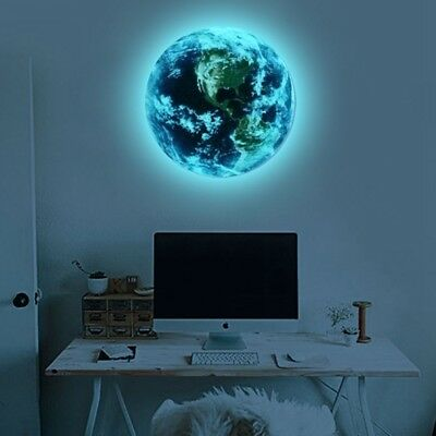 Luminous Planet Earth Wall Art Sticker Decal Kids Bedroom Decor Glow In The Dark