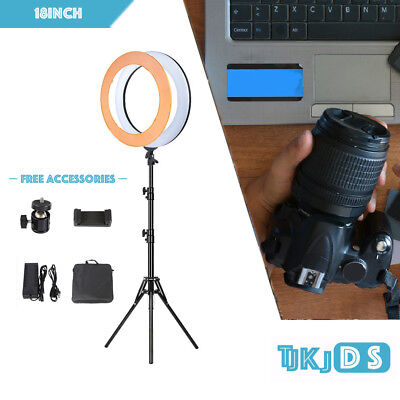 "18"" LED Ring Light Dimmable Photo Camera Studio Lighting Video Stand Selfie Kit"