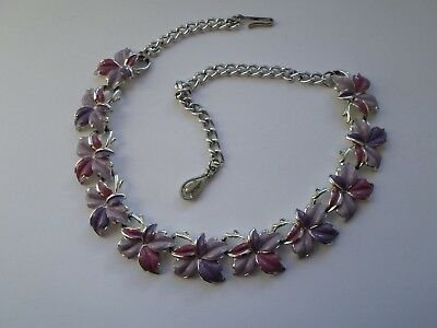 "Vintage lilac Corocraft garland style necklace 16"" or 41 cm"