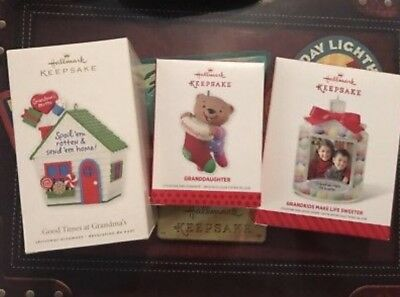 Hallmark Keepsake Lot Of 3 Grandparents Ornament 2010 2013 2014 Grandma Grandkid