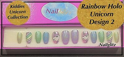 Kiddies Unicorn Holo D2 Fake False press On Nails Nail Art Collections